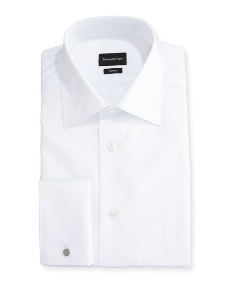 Ermenegildo Zegna Trofeo® Solid French-Cuff Dress Shirt, White