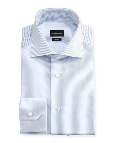 Trofeo® Slim-Fit Pinstripe Dress Shirt, Blue/White