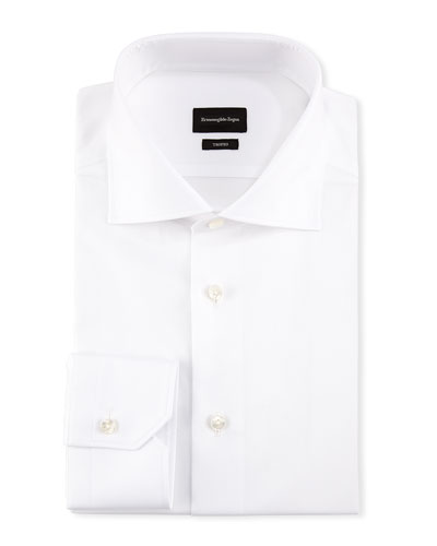 Trofeo® Slim-Fit Tonal-Stripe Dress Shirt, White