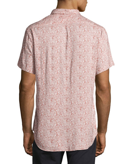Murphy Tropical-Leaf Short-Sleeve Sport Shirt, Red/White
