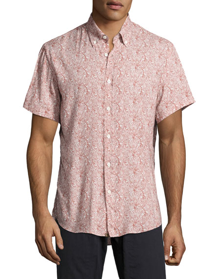 Murphy Tropical-Leaf Short-Sleeve Sport Shirt, Red/White