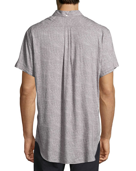 Tuscumbia Printed Short-Sleeve Sport Shirt, Gray