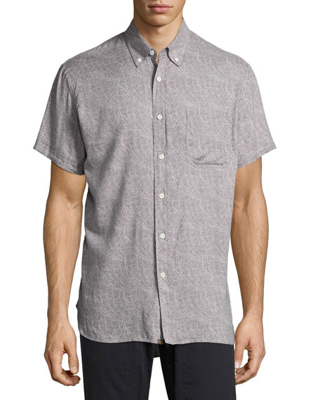 Billy Reid Tuscumbia Printed Short-Sleeve Sport Shirt, Gray