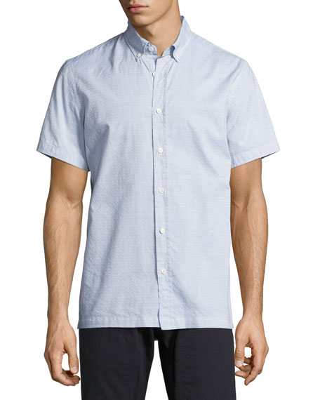 Billy Reid Murphy Printed Short-Sleeve Sport Shirt, Blue/Cream