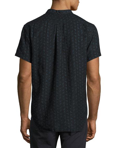Tuscumbia Short-Sleeve Jacquard Shirt, Black/Blue