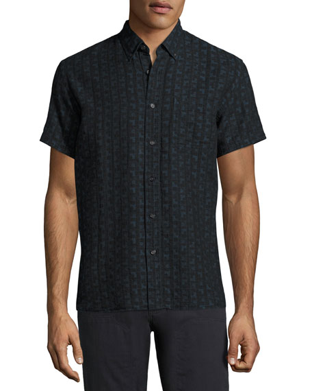 Billy Reid Tuscumbia Short-Sleeve Jacquard Shirt, Black/Blue