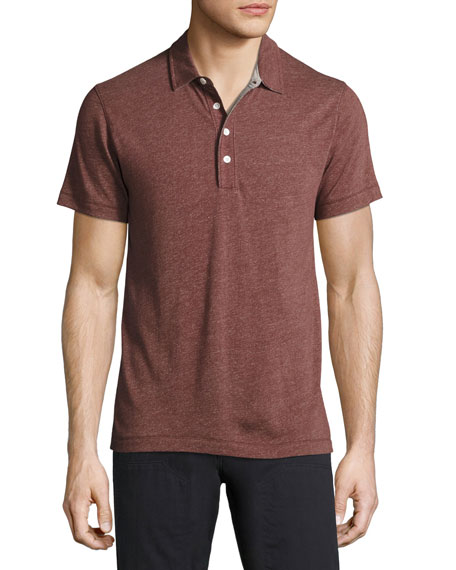 Billy Reid Grant Melange Polo Shirt, Maroon