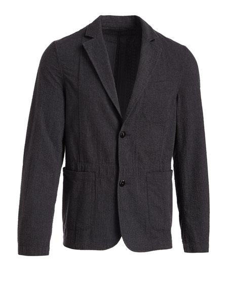 Luther Seersucker Blazer Jacket, Charcoal