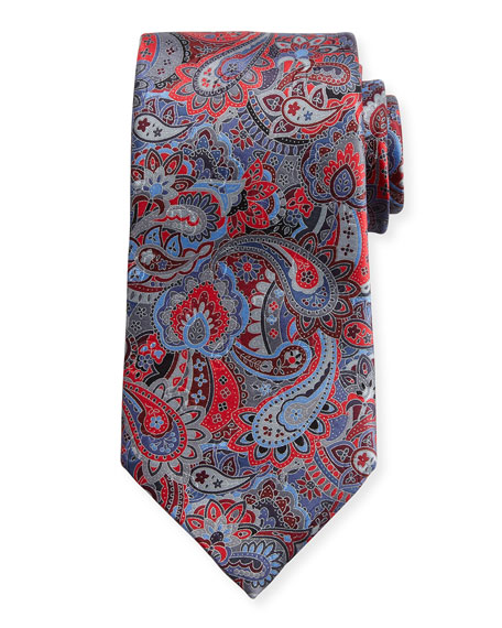 Quindici Multi-Paisley Silk Tie, Red