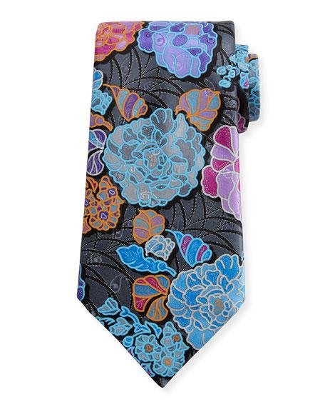 Ermenegildo Zegna Quindici 3D Flower Tie, Charcoal