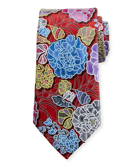 Quindici 3D Flower Tie, Red
