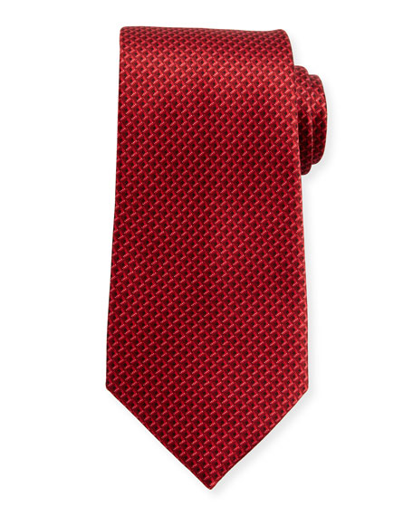 Ermenegildo Zegna Tonal 3D Diamond Silk Tie, Red