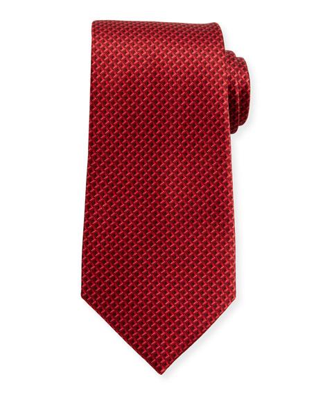 Tonal 3D Diamond Silk Tie, Red