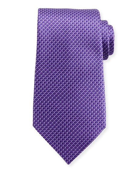 Ermenegildo Zegna Tonal 3D Diamond Silk Tie, Purple