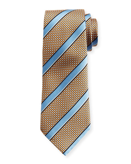 Ermenegildo Zegna Satin-Stripe Basketweave Silk Tie, Orange