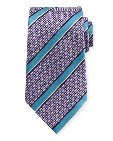 Ermenegildo Zegna Basketweave Satin-Stripe Silk Tie, Lavender