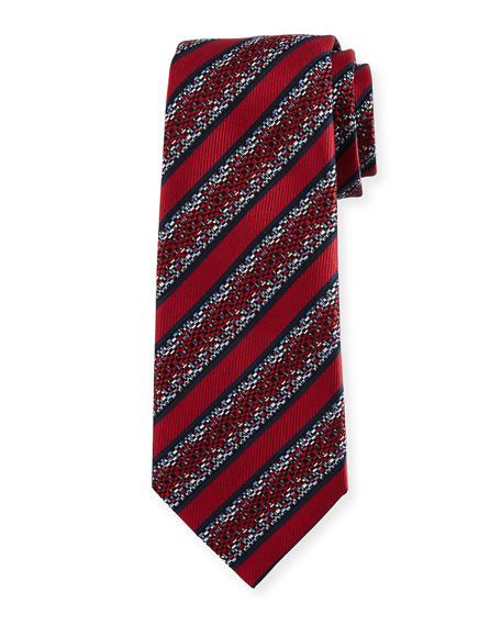 Pixelated Stripe Twill Tie, Red