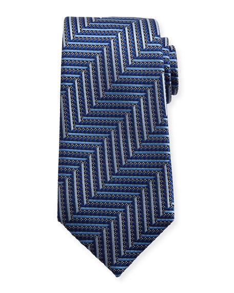 Ermenegildo Zegna Geometric Herringbone Silk Tie, Blue/Silver