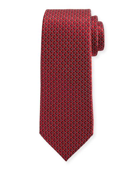 Ermenegildo Zegna 3D Micro-Diamond Neat Tie, Red