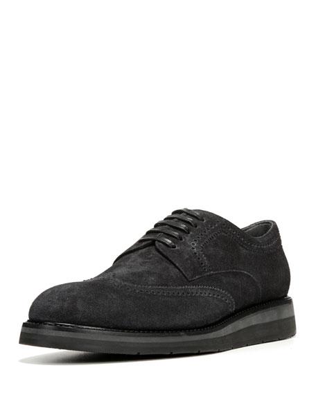 Pryce Denim-Suede Brogue Shoe, Black