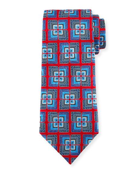 Ermenegildo Zegna Geometric Tiled Silk Tie