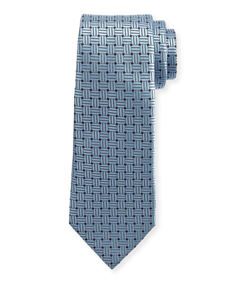 Braided Neat Silk Tie, Blue