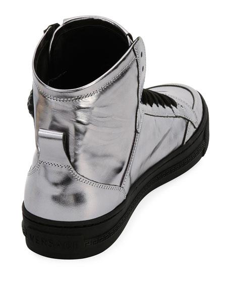 Metallic Leather High-Top Sneaker, Silver