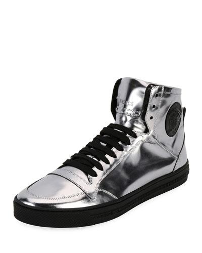 Men's Metallic Leather High-Top Sneakers, Silver