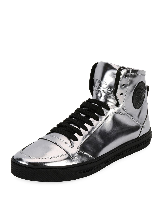 fc9979c15 Versace Men s Metallic Leather High-Top Sneakers