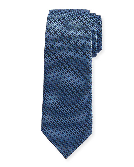 Boxes Neat Silk Tie, Blue