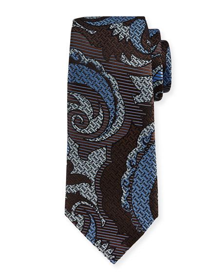 Ermenegildo Zegna Quindici Paisley Silk Tie, Brown