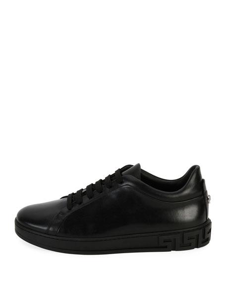 Men's Greca Leather Low-Top Sneakers, Black