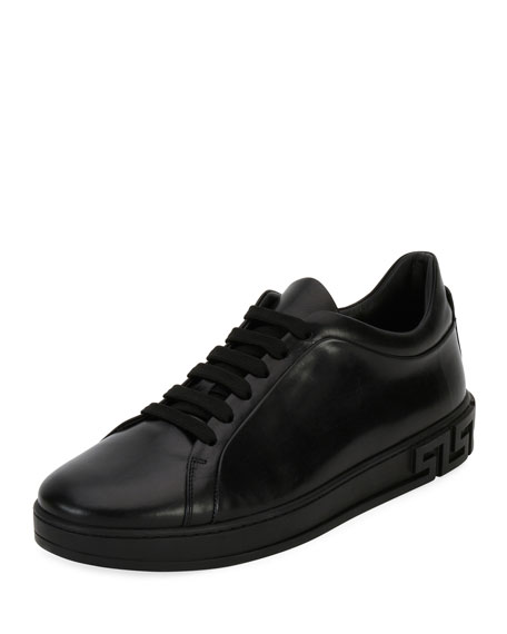 Men's Greca Leather Low-Top Sneaker, Black