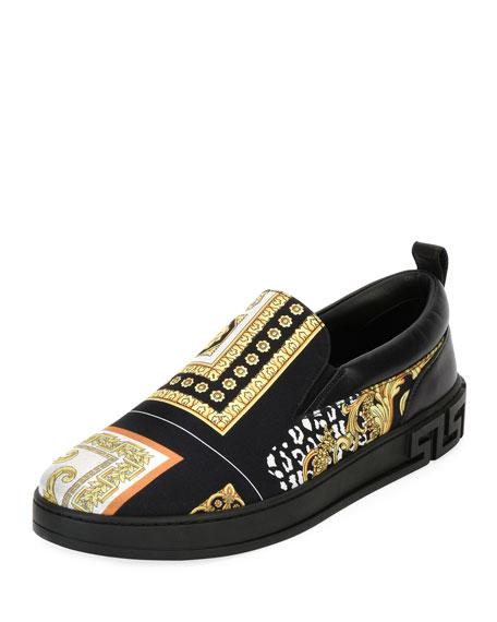 Men's Barocco Silk & Leather Skate Shoe, Black/Gold