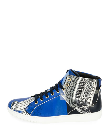 Baroque Collage High-Top Sneaker, Blue/White