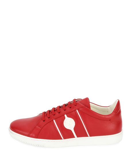Medusa Leather Low-Top Sneaker, Red
