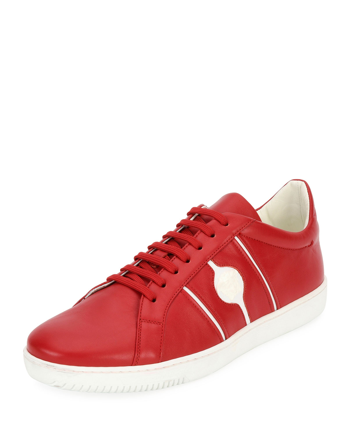 Versace Men's Medusa Leather Low-Top Sneakers, Red ...