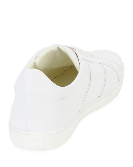 Medusa Leather Low-Top Sneaker, White