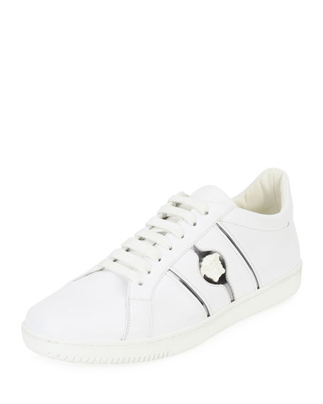 Versace Medusa Leather Low-Top Sneaker, White
