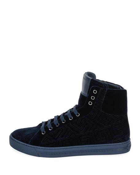 Greca Velvet High-Top Sneaker, Navy