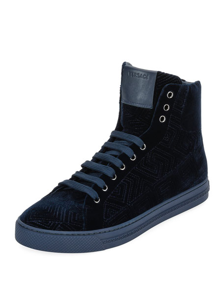 Men's Greca Velvet High-Top Sneakers, Navy