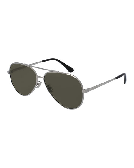 Saint Laurent Men's Classic 11 Zero Aviator Sunglasses,