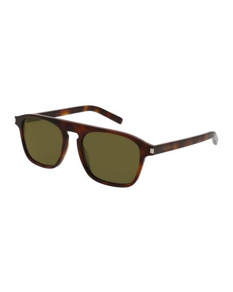 Saint Laurent SL 158 Mirrored Acetate Sunglasses, Havana