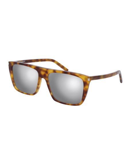 SL 156 Mirrored Acetate Straight-Brow Sunglasses, Havana