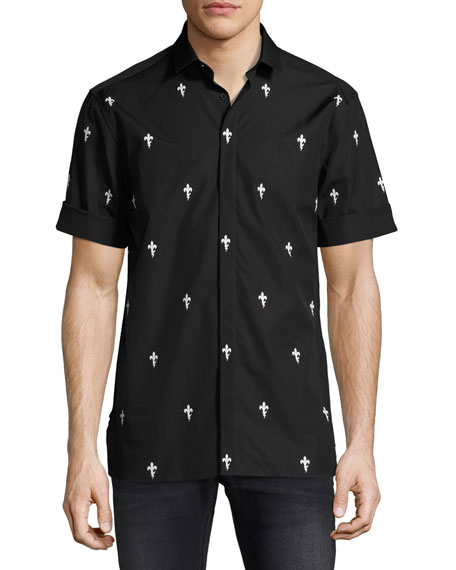 Neil Barrett Fleur de Lis Lightning Bolt Short-Sleeve