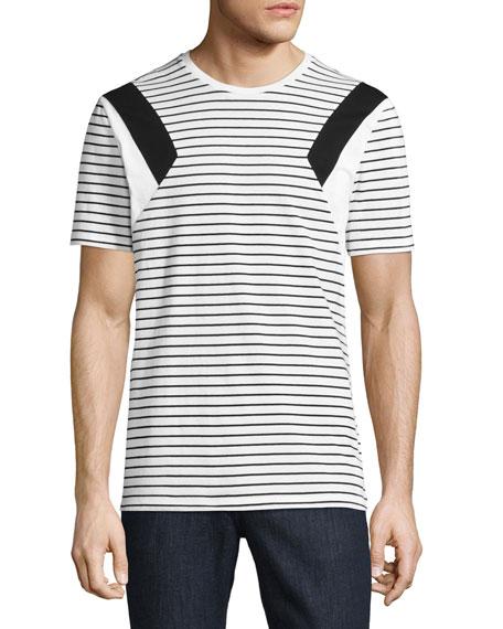 Neil Barrett Modernist Stripe Jersey T-Shirt, White/Black