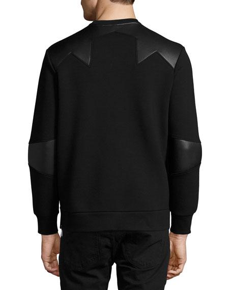 Neoprene Side-Zip Sweatshirt with Star Patches, Black
