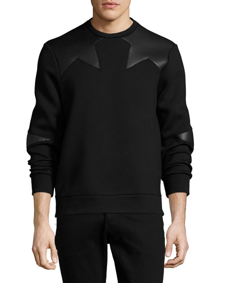 Neil Barrett Neoprene Side-Zip Sweatshirt with Star Patches,