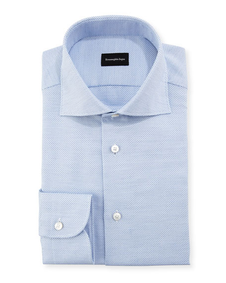 Ermenegildo Zegna Stair-Weave Cotton Dress Shirt