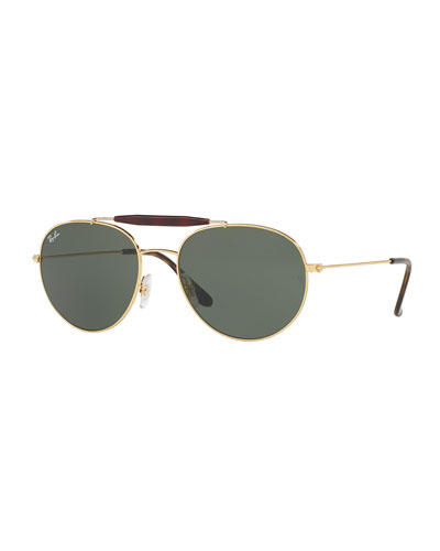 Men's RB3540 Highstreet Aviator Sunglasses, Gold/Green